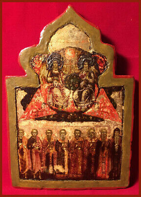 Antique Russian Icon - The Tri-Hypostatic Godhead and Saints