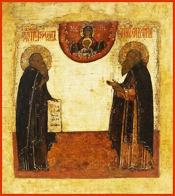 Russian Icon | Sts. Zosimas and Sabbatius of Solovki Large Canvas Print