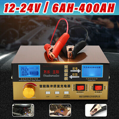 Car Battery Charger 12/24V 400AH Full Automatic Intelligent Pulse Repair