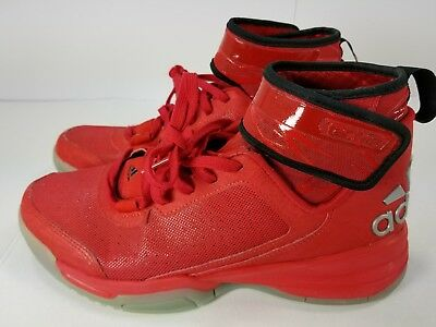 ADIDAS Dual Threat TechFit Red Athletic Basketball Shoes Sneakers 6-1/2 Mens 6.5