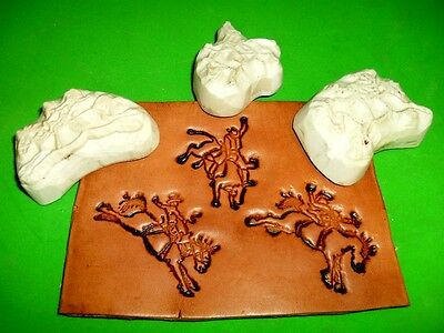 Rodeo Roughstock Events Set of 3 Leather Emboss Plates