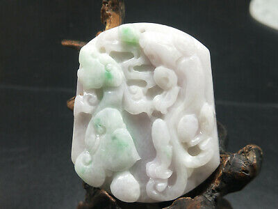 Delicate Chinese Hand-carved aristocratic wearing Jadeite jade pendant Longfeng