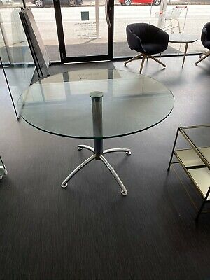 Glass Office Meeting Table - Stainless Legs 1050mm Diameter