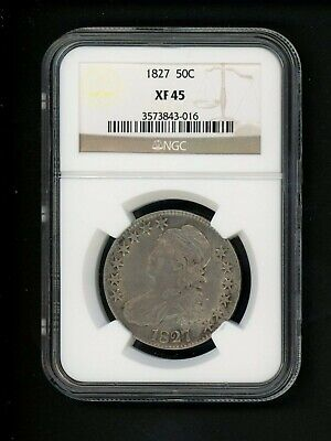1827 US Capped Bust Half Dollar .50 50c NGC XF 45 Square Base 2 Choice Original