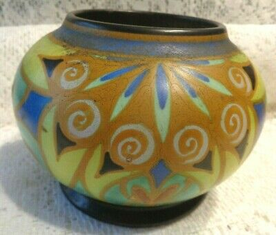 Antique Arts & Crafts Pottery Hand Painted Signed Gouda Holland Vase