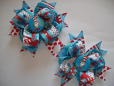 Dr Seuss Cat Polka Dots Hats Girls Hair Bows hairbows 2 count