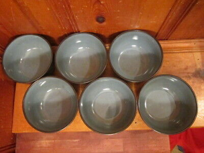 "Set of 6 Gibson Everyday Stoneware Black Blue/Gray 6"" Cereal Soup Bowls EUC"