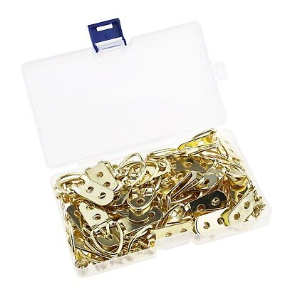 50Pcs Gold D-Ring Frame Picture Hooks Hangers Double Hole with Screws Kit
