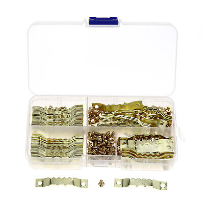 100 Packs Double-Sided Sawtooth Frame Hooks Mirror Hooks Hanger with Screws Gold
