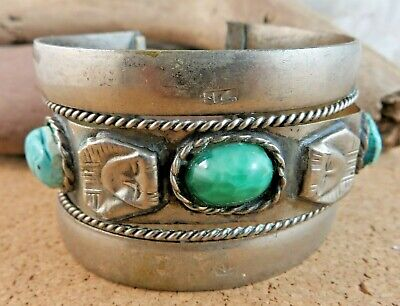 Vtg Egyptian Revival Wide Cuff Bracelet Green Faience Scarab Pharaoh Head #112