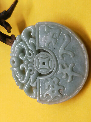 100% Delicate Chinese natural Hand-carved Myanmar Jadeite Double Beast pendant