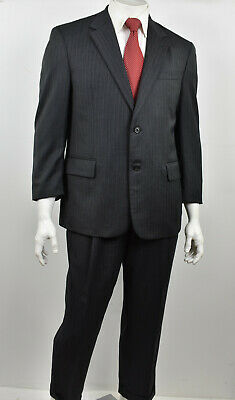 JOS A BANK SIGNATURE Charcoal Striped Herringbone Wool Classic Fit Suit 42S