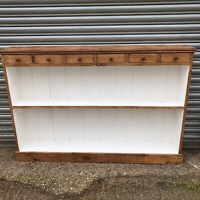 Vintage stripped Pine Shelf Unit With Drawers