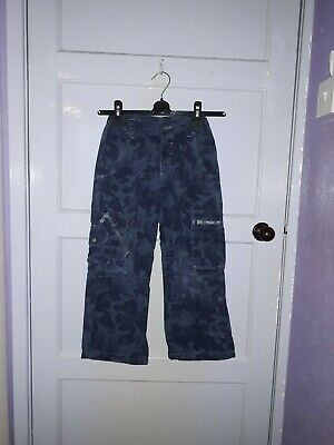 Boys Marks And Spencers Adjustable Elastic Waist Jeans Blue Camo Age 7 Years
