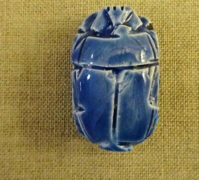 ancient EGYPTIAN Ceramic blue glaze SCARAB bead. Highly collectable.