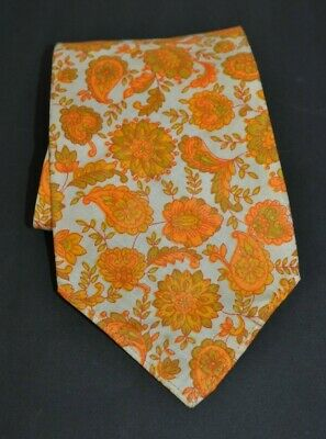 Authentic Vintage Retro 1960's 1970's Flower Power Psychedelic Neck Ties -Yellow