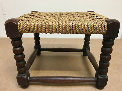 Robust Vintage Retro 1960s Oak Hand Woven Cross Cord Stool Film Prop Original