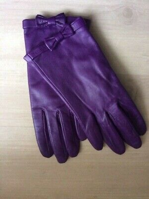 Vintage Emma Fownes Ladies Purple Leather Gloves w. Bow Small Used VGC