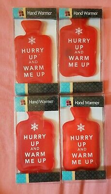 4 × reusable Handwarmers -  Red Hurry Up And Warm Me Up