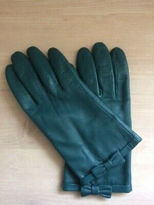 Vintage Emma Fownes Ladies Bottle Green Leather Gloves w. Bow Medium Used VGC