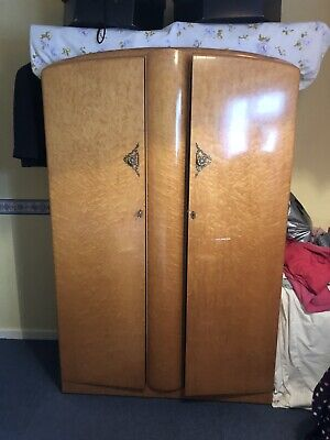 A Stylish Vintge 1950's Birds Eye Maple Double Wardrobe by Majority Furniture