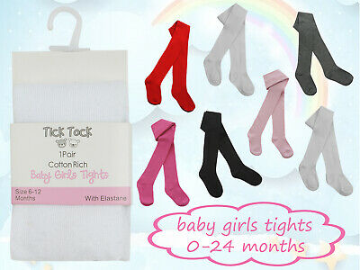 Baby Girls Plain Cotton Rich 3 Pack Tights Newborn Toddler Everyday Tights Cheap