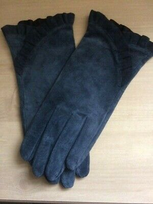 Vintage Accessorize Ladies Slate Blue Suede Leather Gloves w. Frill M/L Used VGC