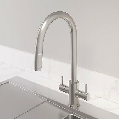 Modern Kitchen Tap Double Lever Pull out Spray Brushed Finish Hot and Cold