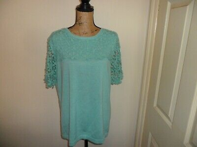 Cotton Traders Ladies Top Crochet Lace Pale Green Size 18 Ex Con