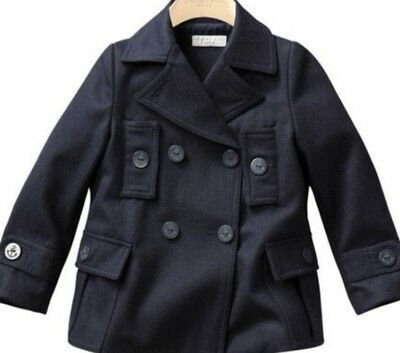 Stella Mccartney Boy's Navy Wool Pea-Coat Age 6 (Runs Small Check Measurements)