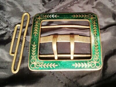 Outstanding Old Vintage Brass & Emerald Green Enamelled Belt Buckle With Clip