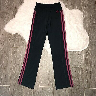 Adidas Leggings Girls Size Medium 10/12 Grey Pink Striped Elastic Waist Straight