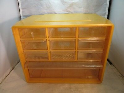 Vintage yellow Akro-Mils 10 drawer storage box. Crafts, tools..