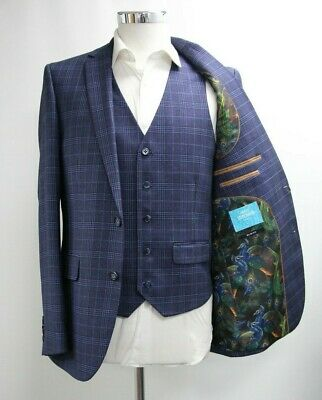 Men's Harry Brown Slim Fit Navy Blue Checked Blazer & Waistcoat (40R)..Ref: 7287