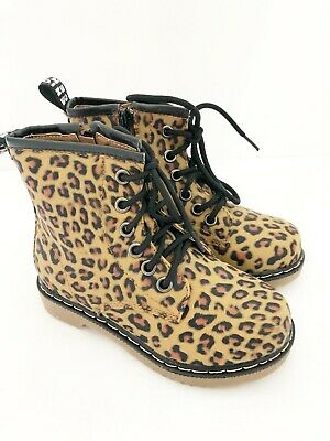New Girls Leopard Print Lace Up Fashion Ankle Boots