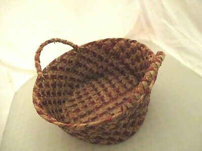 "small DOUBLE Handle Basket RED ADDED Splint twill handmade antique gift 8.5 "" W"