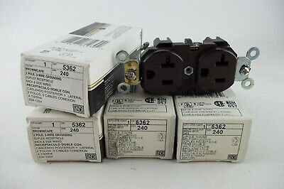 LOT of 4 x Leviton Brown INDUSTRIAL Receptacle Outlet BRASS Strap 20A 125V 5362