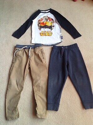 Boys Bundle NEXT Trousers and Top + TU Jogging Bottoms Age 5 Years Height 110cm