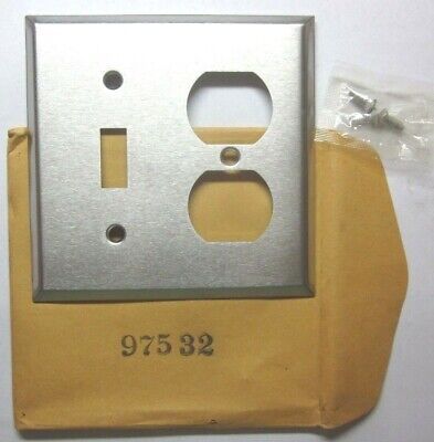 Bryant USA 1960s 2 Gang Combo Switch Outlet Plate Wall Cover Satin Stainless