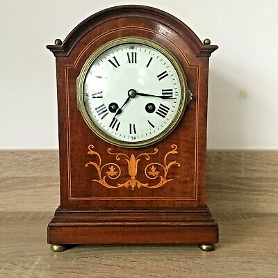 A  Edwardian  Inlaid Mahogany Mantel Clock