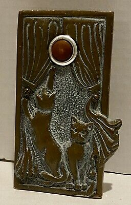 Brass Door Bell Plate Brown Button 2 Cats Playing In Drapes