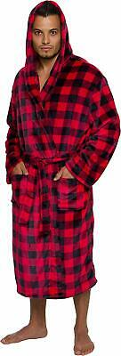Ross Michaels Buffalo Plaid Hooded Bathrobe - Men's Medium Length Luxury Plush B