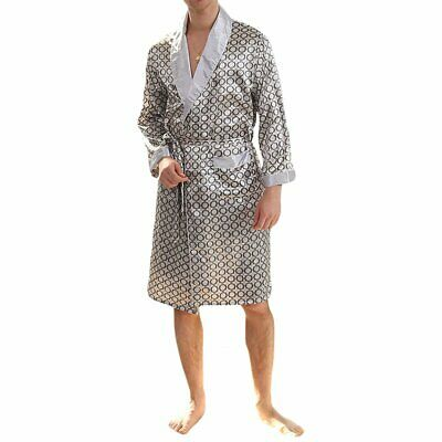 MAGE MALE Men's Summer Luxurious Kimono Soft Satin Robe with Shorts Nightgown Lo