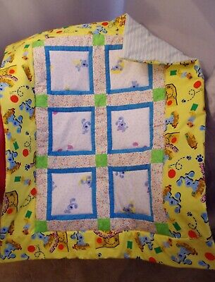 Handmade Patchwork Unisex Dog Playing Yellow Blue Baby Quilt Cotton Blanket