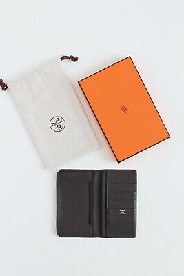HERMES brown epsom leather smartphone case wallet card holder purse box pouch