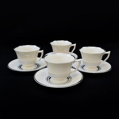 OPCO Syracuse China Old Ivory Nimbus Platinum Demitasse Footed Cups w/ Saucers 4