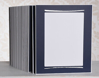 Picture Folder/Leporello for 40 Photos 15x20 - Blue with Brush Stroke in Silver