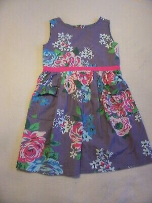 Girls Mini Boden Grey And Pink Floral Sleeveless Dress Age 2-3 Years