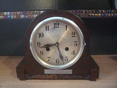 Vintage Art Deco Wooden Mantle Clock 1938 Not Working so for Spares Repairs