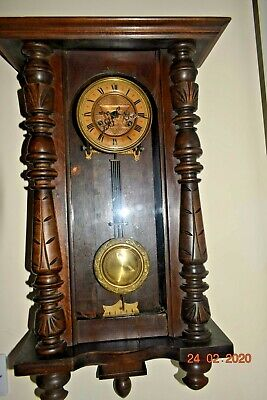 Antique Wall Clock With Masonic Brass  Dial Rare